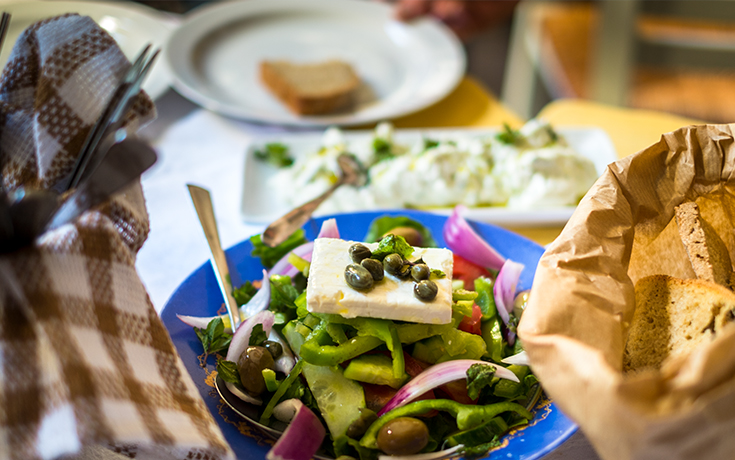 Greek Salad With Grilled Halloumi, Recipe From Regent Seven Seas